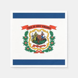 Patriotic paper napkins with West Virginia flag