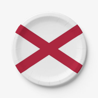 Patriotic paper plate with flag of Alabama.