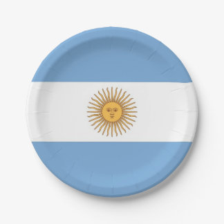 Patriotic paper plate with flag of Argentina