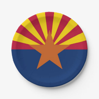 Patriotic paper plate with flag of Arizona