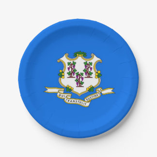 Patriotic paper plate with flag of Connecticut