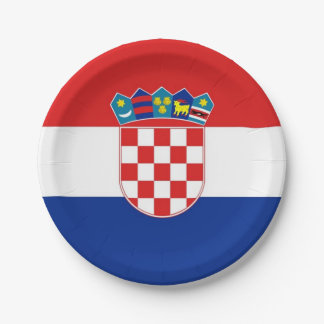 Patriotic paper plate with flag of Croatia