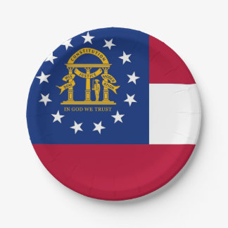 Patriotic paper plate with flag of Georgia