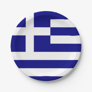 Patriotic paper plate with flag of Greece