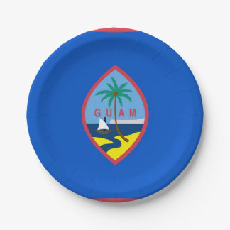 Patriotic paper plate with flag of Guam