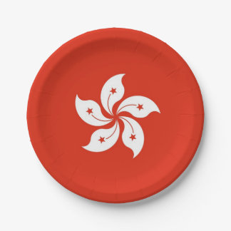 Patriotic paper plate with flag of Hong Kong