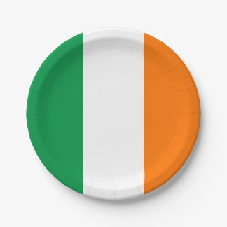 Patriotic paper plate with flag of Ireland