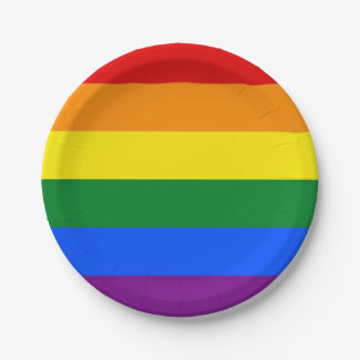 Patriotic paper plate with flag of LGBT