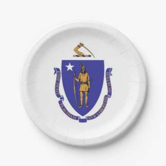 Patriotic paper plate with flag of Massachusetts