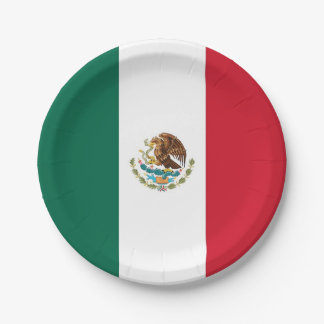 Patriotic paper plate with flag of Mexico