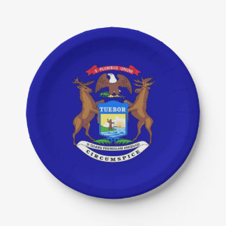 Patriotic paper plate with flag of Michigan