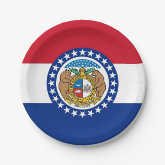 Patriotic paper plate with flag of Missouri