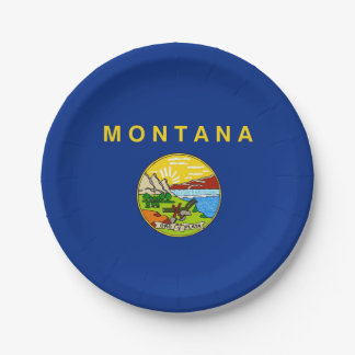 Patriotic paper plate with flag of Montana