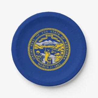 Patriotic paper plate with flag of Nebraska