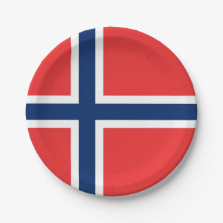 Patriotic paper plate with flag of Norway