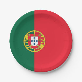 Patriotic paper plate with flag of Portugal