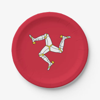 Patriotic paper plate with Isle of Man flag, UK