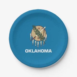 Patriotic paper plate with Oklahoma flag