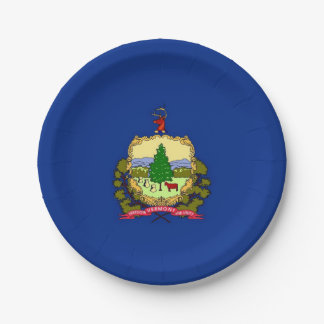 Patriotic paper plate with Vermont flag