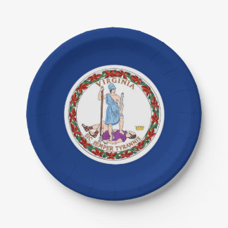 Patriotic paper plate with Virginia flag