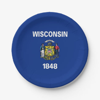 Patriotic paper plate with Wisconsin State flag