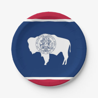 Patriotic paper plate with Wyoming flag