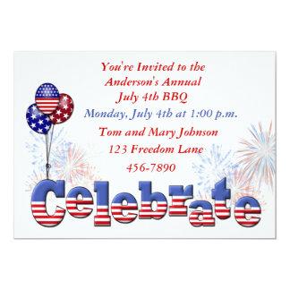 "Patriotic Party Invitation 5"" X 7"" Invitation Card"