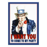 Patriotic Party Invitation: Vintage Uncle Sam