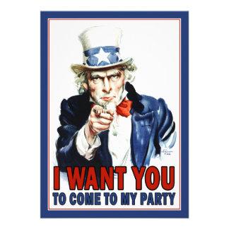 Patriotic Party Invitation Vintage Uncle Sam