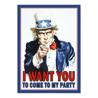 Patriotic Party Invitation: Vintage Uncle Sam 13 Cm X 18 Cm Invitation Card