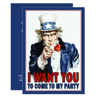Patriotic Party Invitation: Vintage Uncle Sam Card