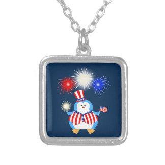 Patriotic Penguin With Fireworks Square Pendant Necklace