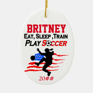 PATRIOTIC PERSONALIZED AND DATED SOCCER ORNAMENT
