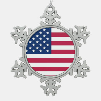 Patriotic Pewter Snowflake Ornament with USA Flag