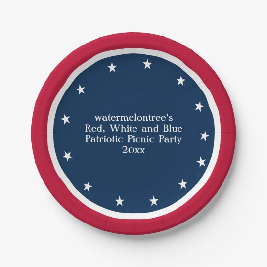 Patriotic Picnic Party Personalised Paper Plates