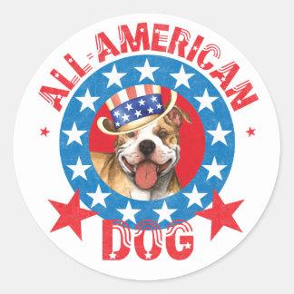 Patriotic Pit Bull Terrier Round Sticker