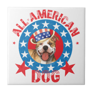 Patriotic Pit Bull Terrier Small Square Tile
