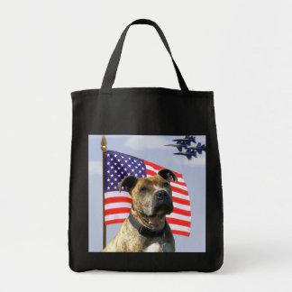Patriotic Pit Bull Tote Bag