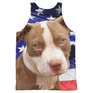 Patriotic Pitbull dog all over print tank top All-Over Print Tank Top