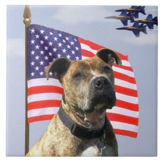 Patriotic pitbull dog large square tile
