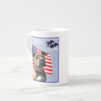 Patriotic pitbull dog bone china mug