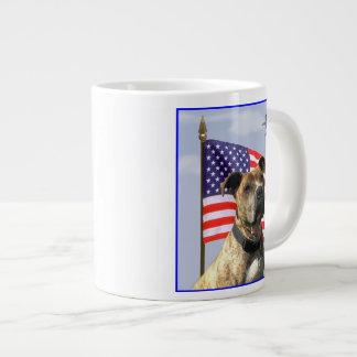 Patriotic pitbull dog jumbo mug