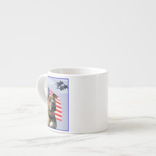 Patriotic pitbull dog espresso mugs