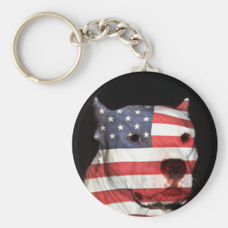 Patriotic pitbull key ring