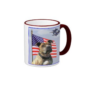 Patriotic pitbull mug