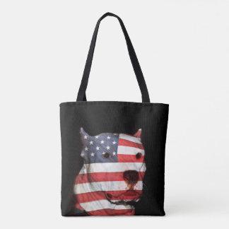 Patriotic pitbull terrier tote bag