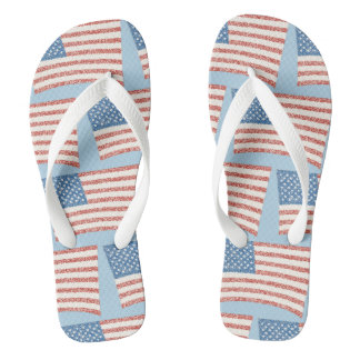 Patriotic Pointillism U.S. Flag Custom FlipFlops