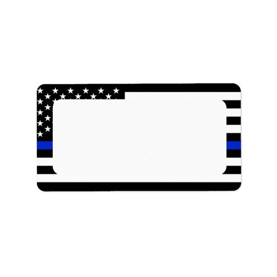 Patriotic Police Flag Blank Address Label