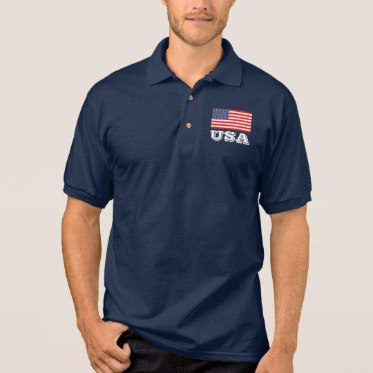 Patriotic polo shirt with American flag   USA