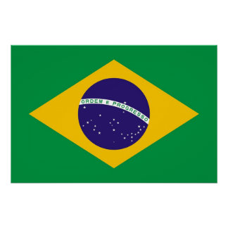 Patriotic poster with Flag of Brazil